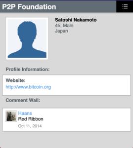 Satoshi Nakamoto'nun P2P Foundation profili