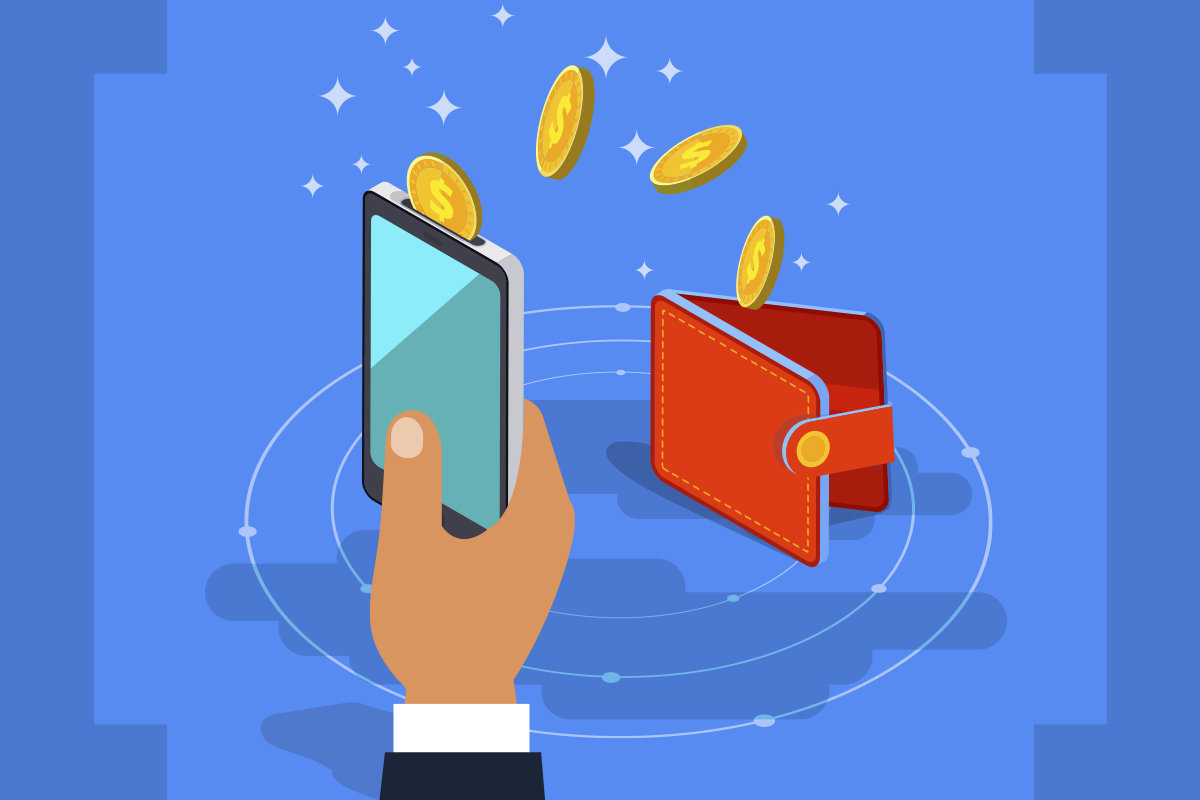 crypto currency hand holding phone iwth bitcoin digital wallet bitcoin blockchain 100793898 large